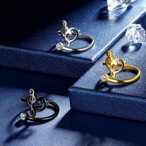 18K B/GorS TREBLE CLEF MUSIC NOTE ADJUSTABLE RING